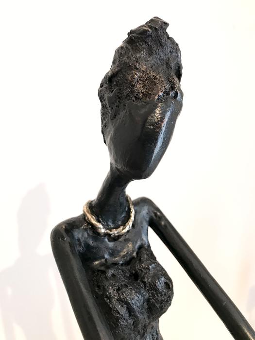 Le mystère - détail- Bronze et Chrysocolle - Magali Willems - 2018