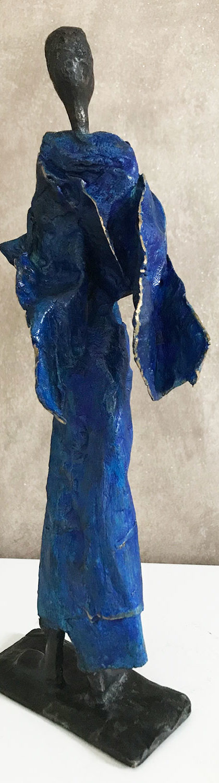 Sahara - dos - Femme patine bleue - bronze - oeuvre unique - M.WILLEMS